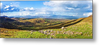 Panorama Of A Colourful Undulating Irish Landscape In Kerry Metal Print by Semmick Photo