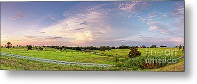 Panorama Of Bales Of Hay In A Field - Chappell Hill Texas Metal Print