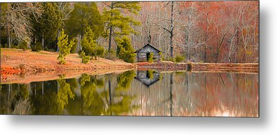 Panorama Of Cabin By The Lake Metal Print by Shelby  Young
