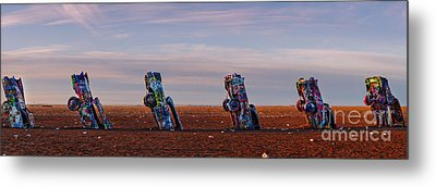 Panorama Of Cadillac Ranch In The Early Morning - Amarillo Texas Panhandle Metal Print