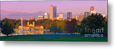 Panorama Of Denver Skyline From Museum Of Nature And Science - City Park Denver Colorado Metal Print