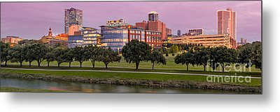 Panorama Of Downtown Fort Worth And Trinity River At Twilight - Dfw North Texas Metal Print by Silvio Ligutti