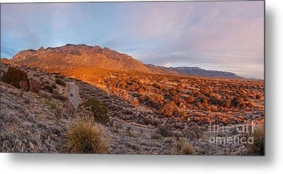 Panorama Of Sandia Mountains At Sunset - Albuquerque New Mexico Metal Print by Silvio Ligutti