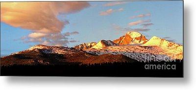 Panorama View Of Longs Peak At Sunrise Metal Print by Ronda Kimbrow