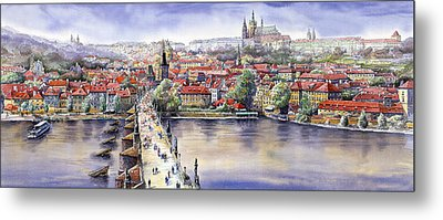 Panorama With Vltava River Charles Bridge And Prague Castle St Vit Metal Print