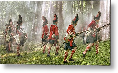 Panoramic French And Indian War Battle Metal Print by Randy Steele