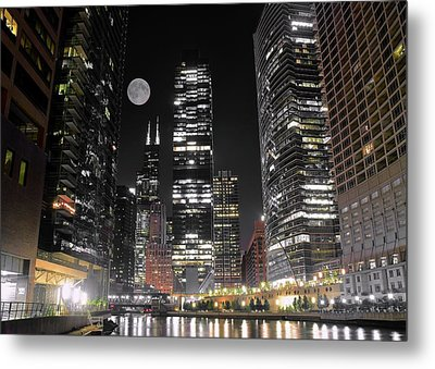 Panoramic Lakefront View In Chicago Metal Print by Frozen in Time Fine Art Photography
