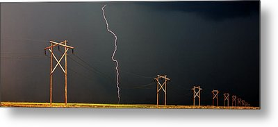 Panoramic Lightning Storm And Power Poles Metal Print by Mark Duffy