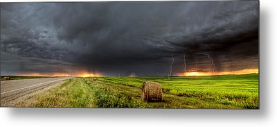 Panoramic Lightning Storm In The Prairies Metal Print by Mark Duffy