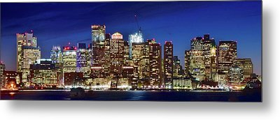 Panoramic Lights On A Boston Night Metal Print by Frozen in Time Fine Art Photography