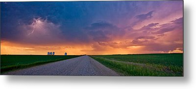 Panoramic Prairie Lightning Storm Metal Print by Mark Duffy