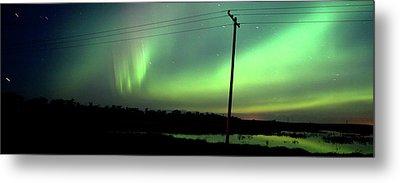 Panoramic Prairie Northern Lights Metal Print by Mark Duffy
