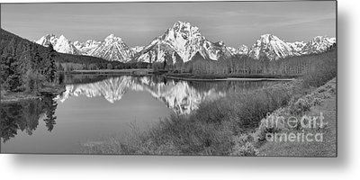 Panoramic Reflections At Oxbow Black And White Metal Print by Adam Jewell