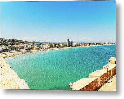 Panoramic Skyline View Of Peniscola City Beach Resort At Mediterranean Sea In Spain Metal Print