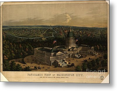 Panoramic View Of Washington City From The New Dome Of The Capitol Metal Print