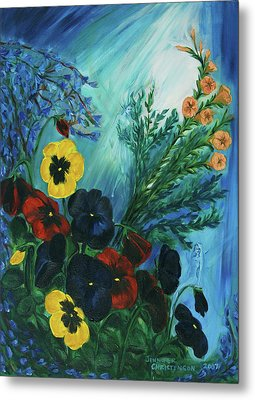 Pansies And Poise Metal Print by Jennifer Christenson