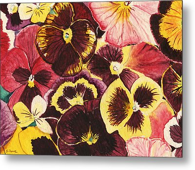 Metal Print featuring the painting Pansies Competing For Attention by Shawna Rowe