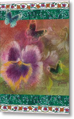 Metal Print featuring the painting Pansy Butterfly Asianesque Border by Judith Cheng