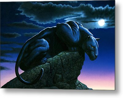 Panther On Rock Metal Print by MGL Studio - Chris Hiett
