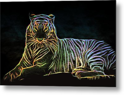 Metal Print featuring the digital art Panthera Tigris by Aaron Berg