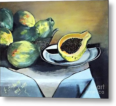 Papaya Still Life Metal Print