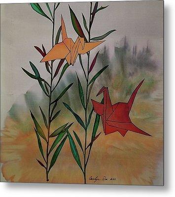 Paper Cranes 1 Metal Print by Carolyn Doe