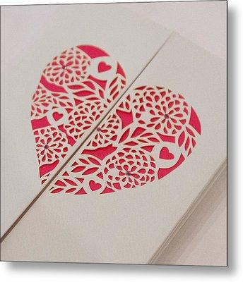 Paper Cut Heart Metal Print by Helen Northcott