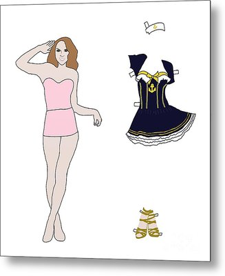 Paper Doll Sailor Outfit Metal Print