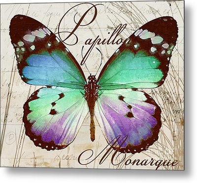 Papillon Blue Metal Print by Mindy Sommers