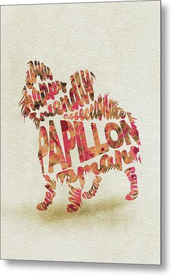 Metal Print featuring the painting Papillon Dog Watercolor Painting / Typographic Art by Inspirowl Design