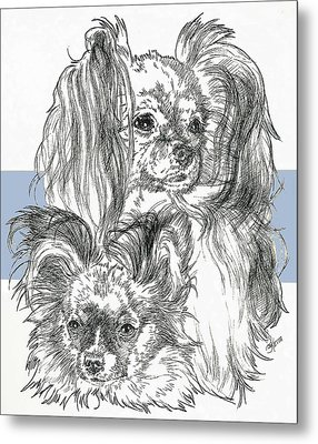 Papillon Father And Son Metal Print by Barbara Keith