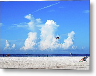 Metal Print featuring the photograph Para Sailing On Siesta Key by Gary Wonning