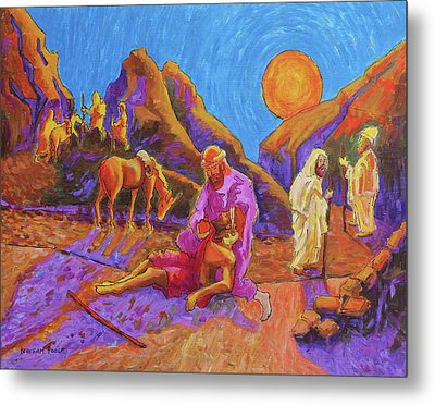 Parables Of Jesus Parable Of The Good Samaritan Painting Bertram Poole Metal Print by Thomas Bertram POOLE