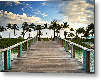 Paradise Beach Tropical Palm Trees Islands Summer Vacation Metal Print by Dave Allen
