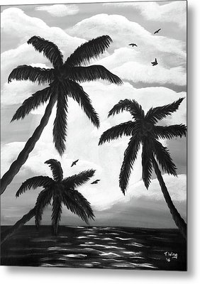 Paradise In Black And White Metal Print by Teresa Wing