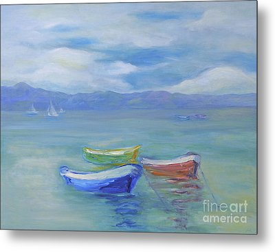 Metal Print featuring the painting Paradise Island Boats by Barbara Anna Knauf
