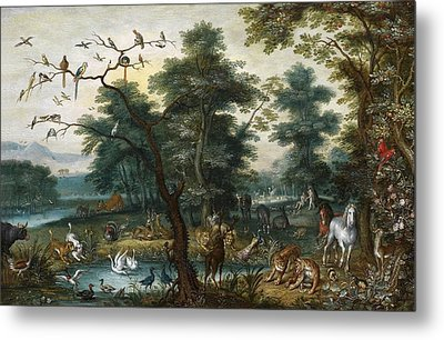 Paradise Landscape With The Fall Metal Print by Jan Brueghel the Younger