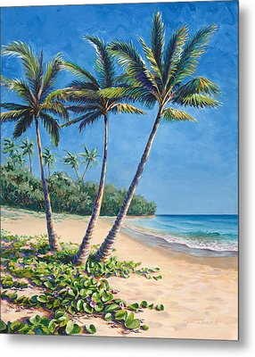 Metal Print featuring the painting Tropical Paradise Landscape - Hawaii Beach And Palms Painting by Karen Whitworth