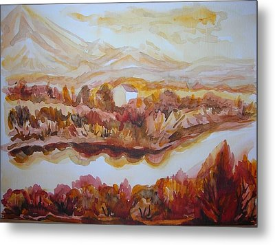 Metal Print featuring the painting Paradise Valley by Anna  Duyunova