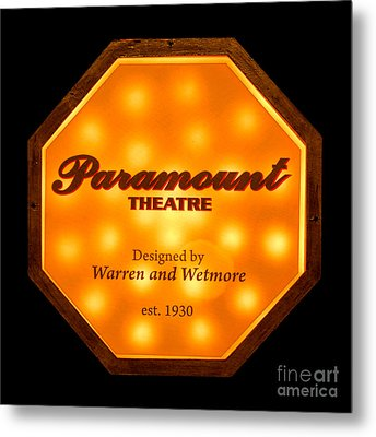 Paramount Theater Sign Metal Print by Olivier Le Queinec