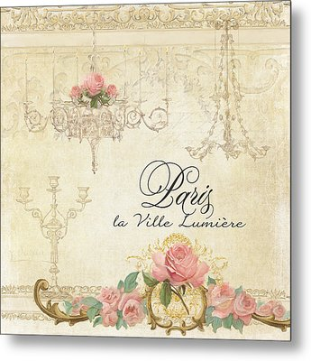 Parchment Paris - City Of Light Chandelier Candelabra Chalk Roses Metal Print