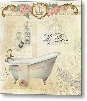 Parchment Paris - Le Bain Or The Bath Chandelier And Tub With Roses Metal Print