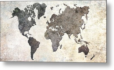 Parchment World Map Metal Print by Douglas Pittman