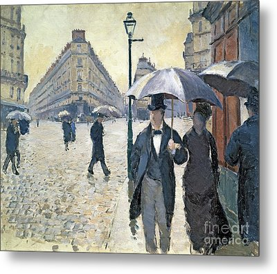 Paris A Rainy Day Metal Print by Gustave Caillebotte
