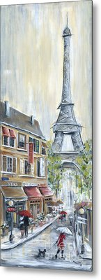 Poodle In Paris Metal Print