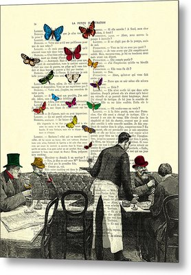 Inside Of A French Bistro At Paris And Rainbow Butterflies Metal Print by Madame Memento