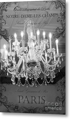 Paris Black And White Crystal Chandeliers - French Parisian Black White Crystal Chandelier Art Metal Print