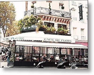 Paris Cafe De Flore Famous Landmark - Paris Street Cafe Restaurant  Metal Print