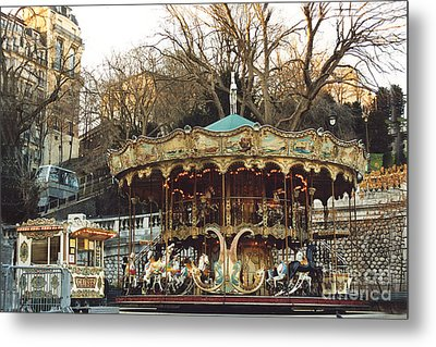 Paris Carousel At Montmartre - Sacre Coeur Cathedral Carousel Merry Go Round  Metal Print by Kathy Fornal