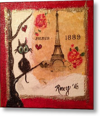 Paris Cat  Metal Print by Roxy Rich